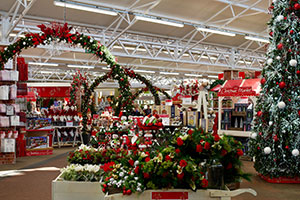 Christmas department at Haskins Garden Centre