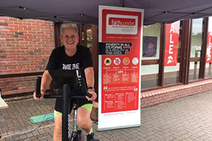 Yvonne Bunyan Good in manager taking part in the Static Bikeathon