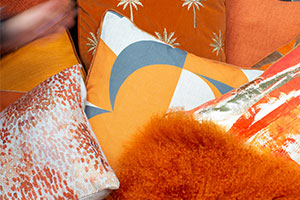 Malini soft furnishings design - orange and grey geo print