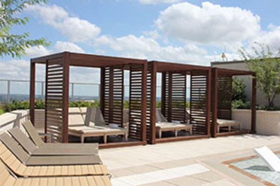 outdoor living space with a pergola from Endurawood