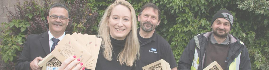 Willerby's bee campaign - Hedley Wilson, Building Estates Officer HRI; Chloe Lawford from Willerby's marketing department, Mike Burn and Craig Crabb, both gardeners at HRI.