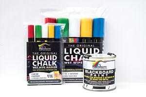 Rainbow Chalk image of liquid chalk pens and blackboard paint